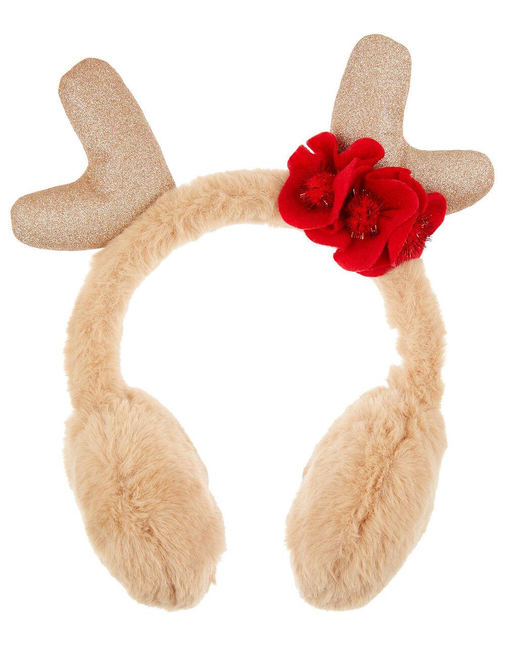 Donna Reindeer Fluffy Earmuffs, , large