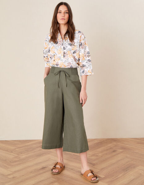 Drawstring Culottes in Linen Blend Green, Green (KHAKI), large