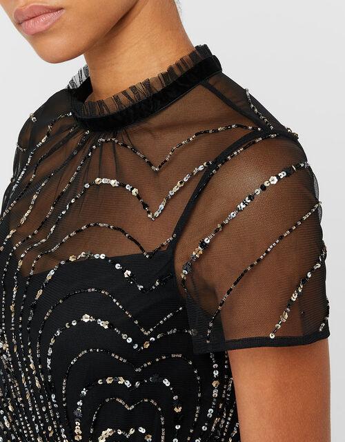Chloee Embellished Short Dress, Black (BLACK), large
