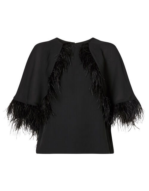 Fiammetta Feather Cape Top, Black (BLACK), large