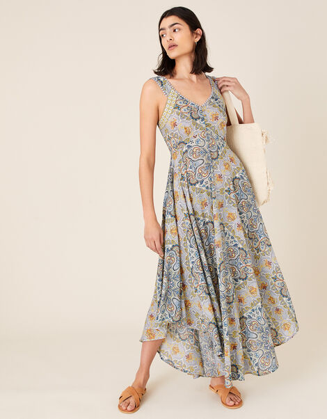 Miriam Print Midi Dress in LENZING™ ECOVERO™ Blue, Blue (BLUE), large