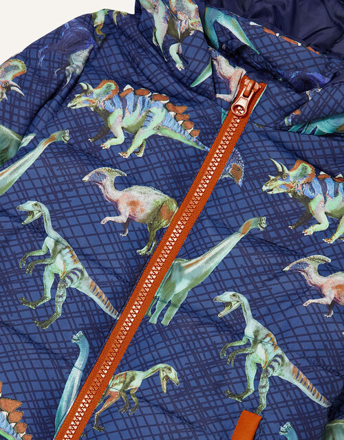 Dino Print Padded Coat, Blue (NAVY), large