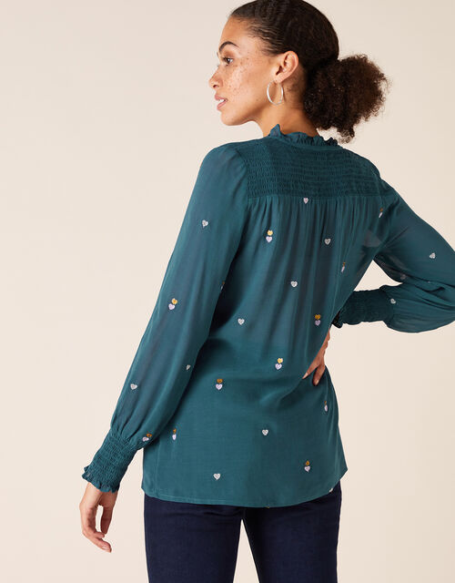 Heart Embroidery Blouse in Sustainable Viscose, Teal (TEAL), large