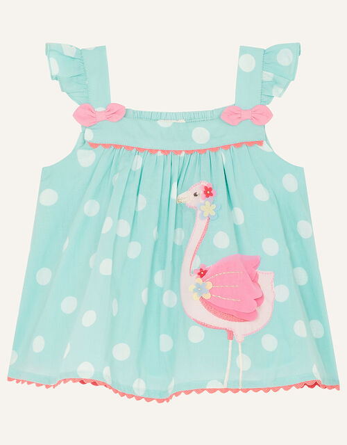 Baby Flamingo Top and Shorts Set, Green (MINT), large