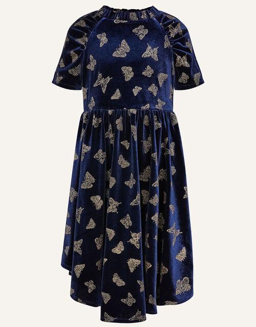 Glitter Butterfly Velvet Dress, Blue (NAVY), large