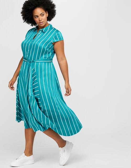 Dallas Stripe Shirt Dress, Teal, large
