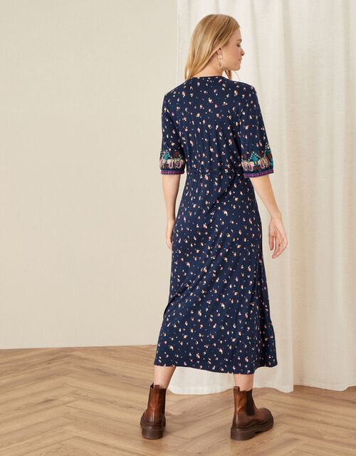 Embroidered Jersey Midi Dress, Blue (NAVY), large