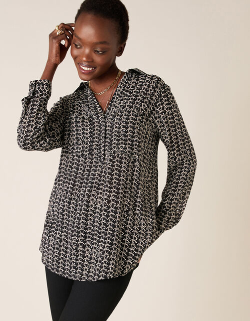 Printed Longline Shirt in Sustainable Viscose , Black (BLACK), large