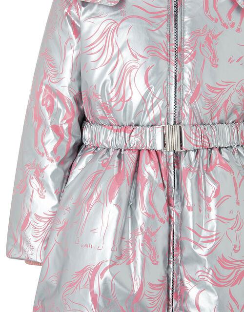 Metallic Unicorn Padded Coat, Silver (SILVER), large
