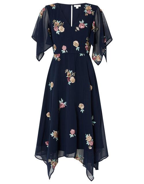 Nigella Floral Sequin Hanky Hem Dress, Blue (NAVY), large