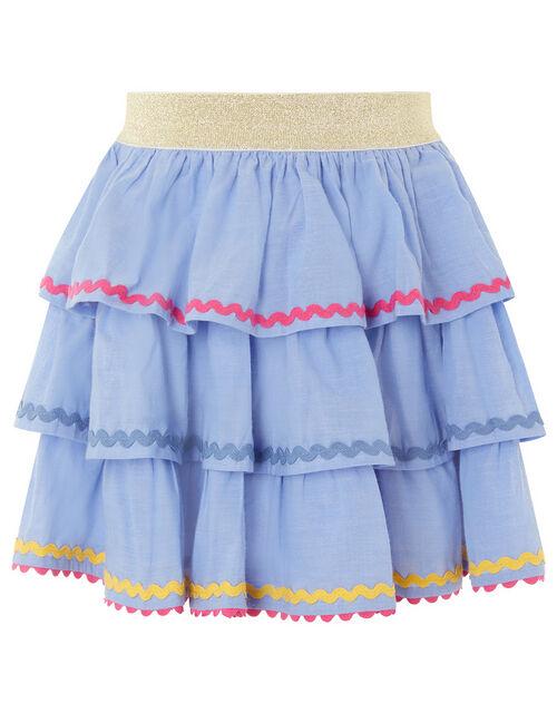 Chambray Ricrac Skirt , Blue (BLUE), large