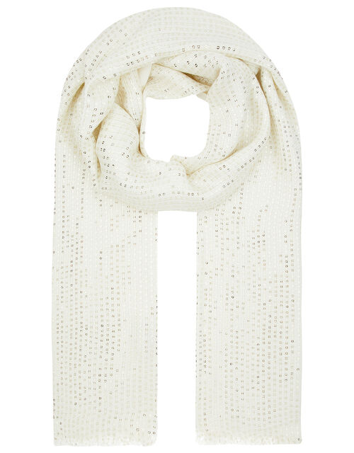 Ivory Sequin Occasion Scarf, , large