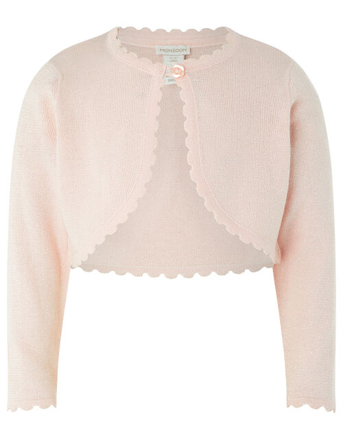 Baby Niamh Cropped Sparkle Knitted Cardigan, Pink (PINK), large