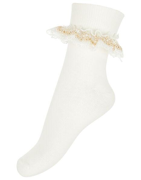 Chloe Sparkle Gold Lace Socks Ivory, Ivory (IVORY), large