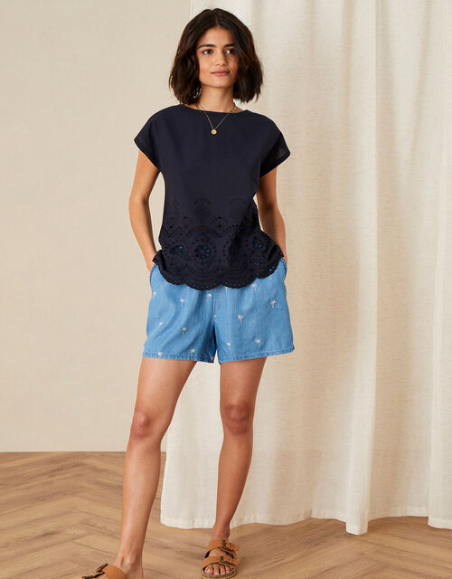 Lila Woven Front Tee in Organic Cotton , Blue (NAVY), large