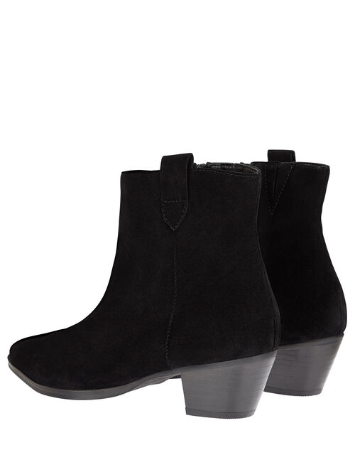 Western Suede Ankle Boots, Black (BLACK), large
