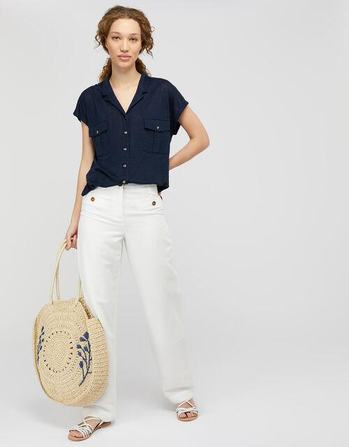 Leena Short-Sleeve Shirt in Pure Linen, Blue (NAVY), large