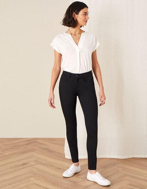 Nadine Short Length Jeans with Organic Cotton Black, Black (BLACK), large