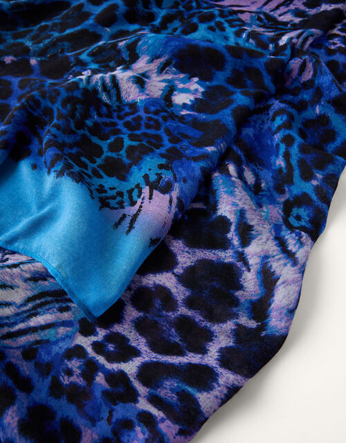 Animal Print Border Scarf, , large