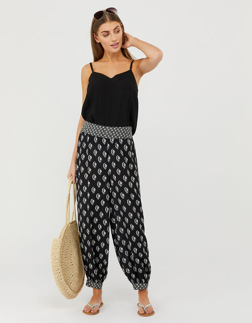 Printed Hareem Trousers in LENZING™ ECOVERO™, Black (BLACK), large