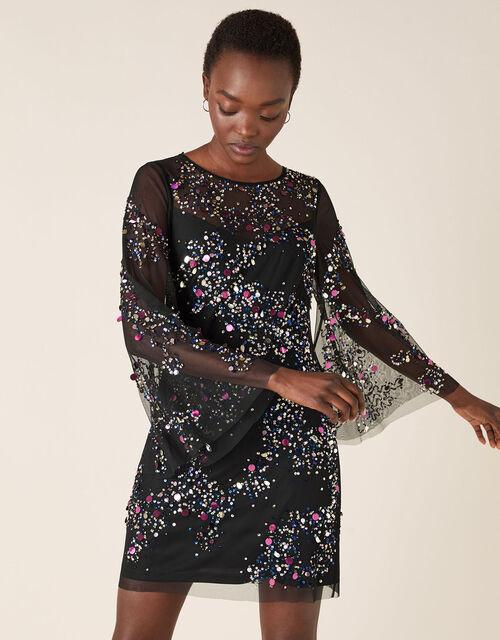 Freyja Sequin Tunic Dress, Black (BLACK), large