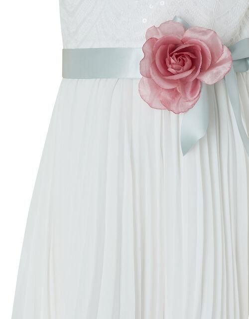 Layla Sequin Lace Pleated Maxi Dress, Ivory (IVORY), large