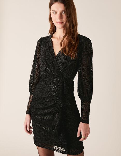 Abigail Shimmer Animal Devore Dress Black, Black (BLACK), large