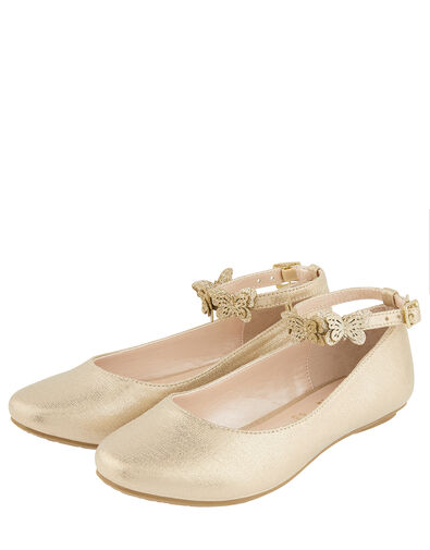 Butterfly Strap Shimmer Ballerina Shoes Gold, Gold (GOLD), large