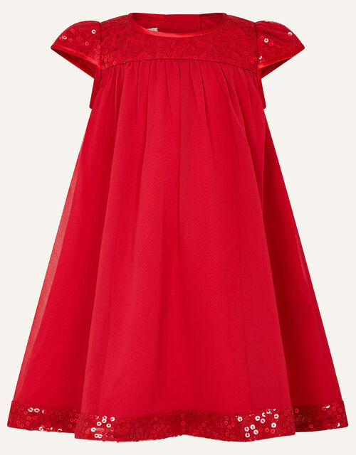 Baby Sequin Sleeve Dress, Red (BURGUNDY), large