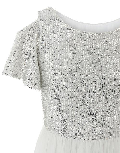 Jacinta Cold-Shoulder Sequin Maxi Dress, Ivory (IVORY), large