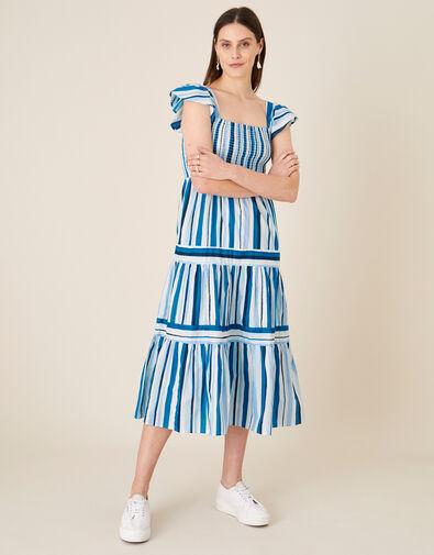 Stripe Tiered Midi Dress Blue, Blue (BLUE), large