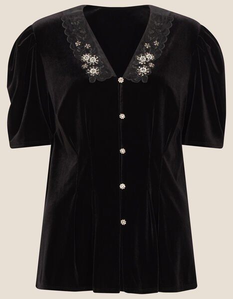 Connie Stretch Velvet Top Black, Black (BLACK), large