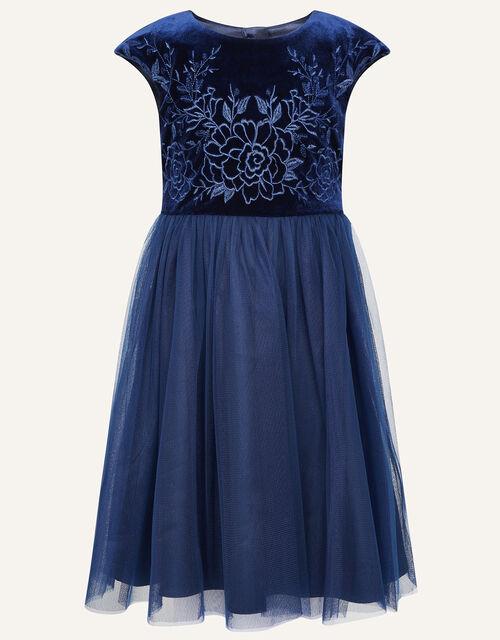 Odette Velvet Embroidered Dress , Blue (NAVY), large