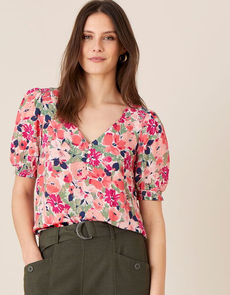 Autumn Printed Top in Sustainable Viscose  Pink, Pink (BLUSH), large