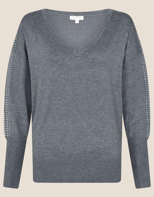 Heat-Seal Gem V-Neck Jumper, Grey (GREY), large