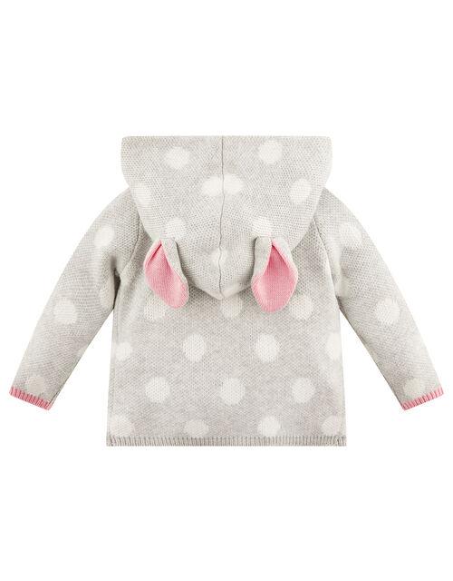 Newborn Baby Bunny Spot Cardigan, Grey (GREY), large