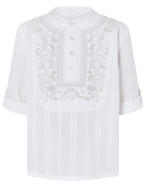 Keagan Embroidered Kurta Shirt in Pure Cotton, Ivory (IVORY), large