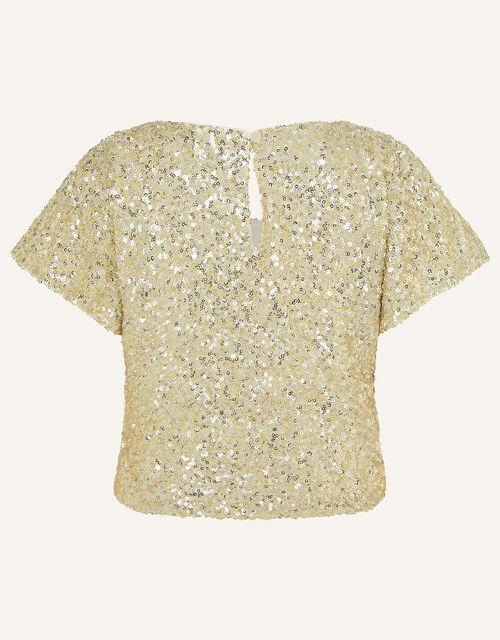 Sequin Flutter Sleeve Top, Gold (GOLD), large