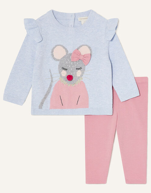 Baby Mouse Knit Top and Leggings, Blue (BLUE), large