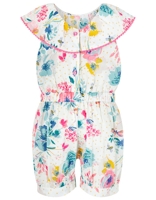 Baby Clarissa Floral Playsuit in Organic Cotton, Ivory (IVORY), large