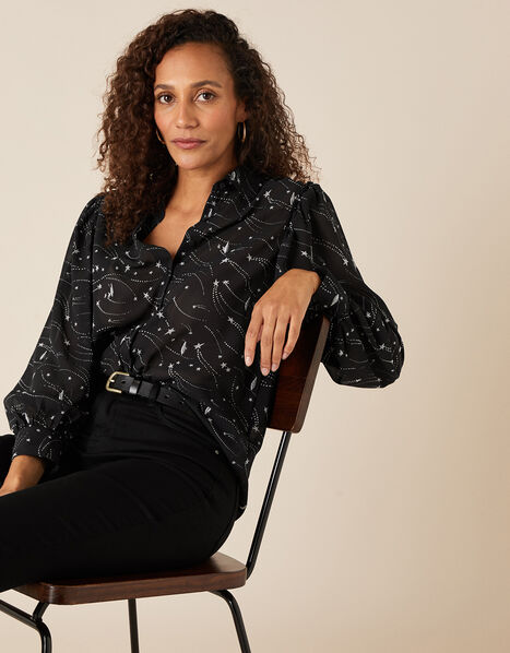 Star Print Embroidered Blouse Black, Black (BLACK), large