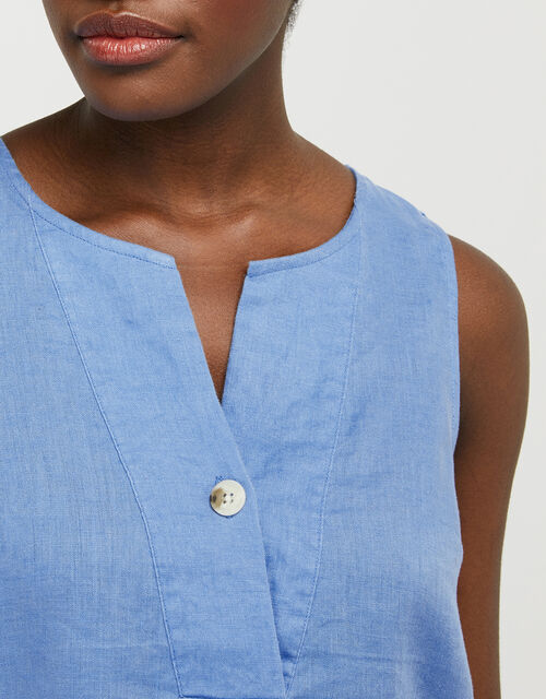 Ivy Tank Top in Pure Linen, Blue (BLUE), large