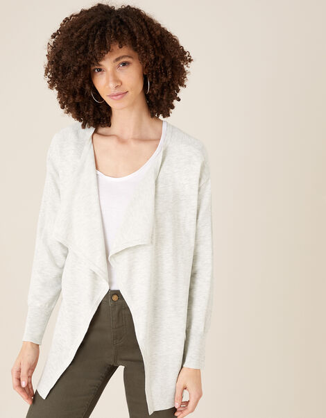 Zip Side Waterfall Cardigan Grey, Grey (GREY), large
