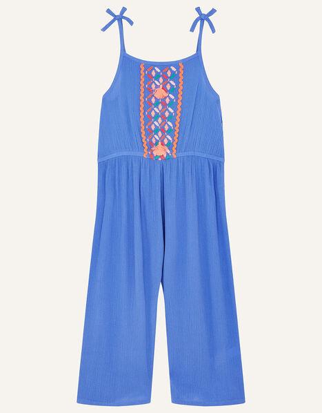 Embroidered Tassel Jumpsuit Blue, Blue (BLUE), large