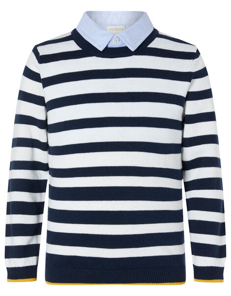 Stripe Knit Jumper with Collar Blue, Blue (NAVY), large