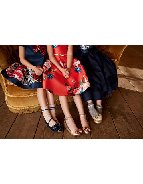 Adeline Beaded Bow Ballerina Shoes, Blue (NAVY), large
