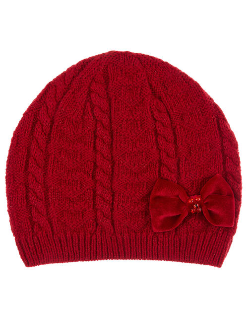 Ruby Bow Cable Knit Beanie, Red (RED), large