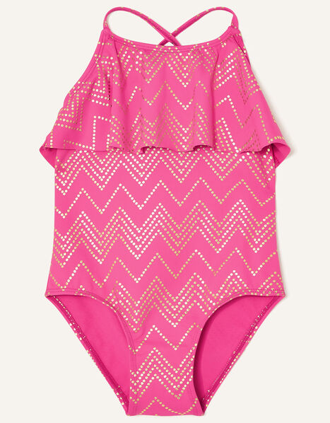 Chevron Frill Swimsuit  Pink, Pink (BRIGHT PINK), large