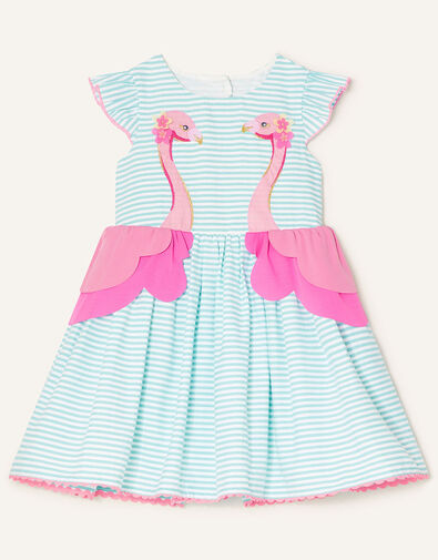 Baby Stripe Flamingo Dress  Blue, Blue (BLUE), large