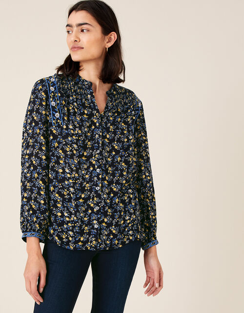 Ditsy Floral Top in LENZING™ ECOVERO™, Blue (NAVY), large